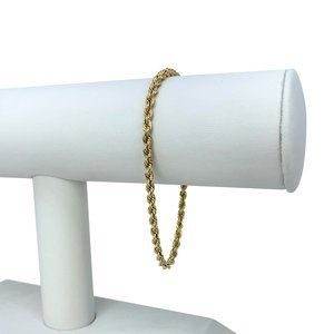 Jewelry - 14k Gold 6.6g Solid 3mm Rope Chain Bracelet 7.25""